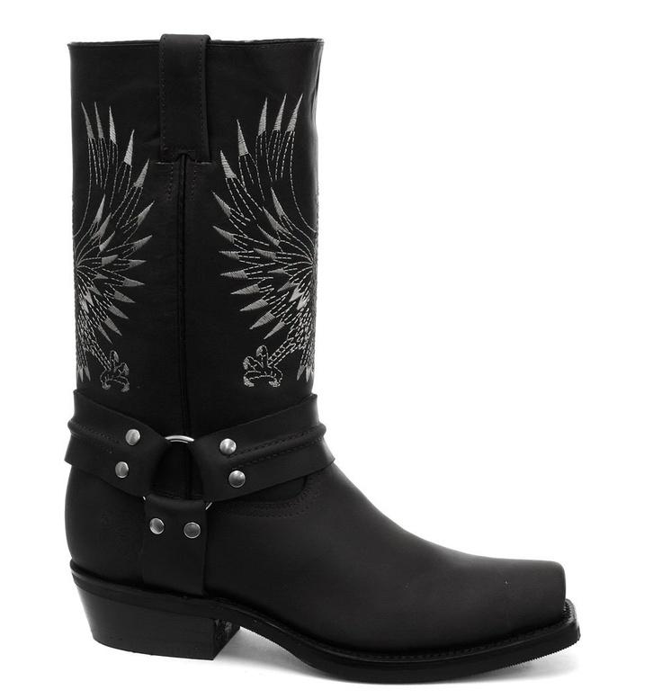 Grinders Bald Eagle Black Mens Cowboy Boots: Amazon.co.uk: Shoes & Accessories