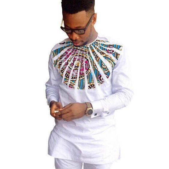 African Shirts For Men White African Clothing Patchwork O-Neck Dashiki Kitenge Shirts