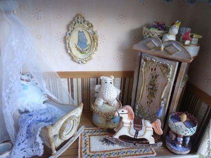 Кукольный дом ручной работы. Ярмарка Мастеров - ручная работа. Купить Детская для маленького принца (миниатюра, румбокс). Handmade. Голубой