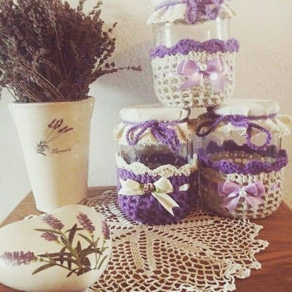 lavender themed jars I made out of yarn and cute ribbons