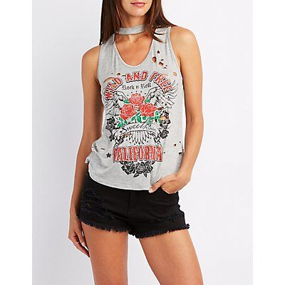 Gray Destroyed Choker Neck Graphic Tank Top - Size L