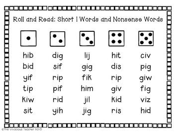 Short Vowels (CVC Words and Nonsense Words) Roll and Read