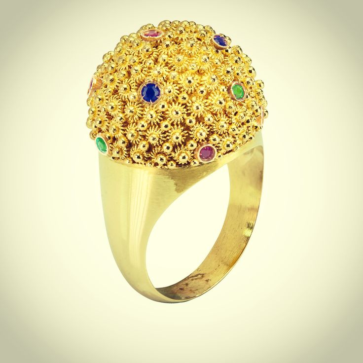 Most amazing hand made 18k gold filigree Mora dome ring with Emeralds, Rubies and Sapphires! www.kokku.co.uk