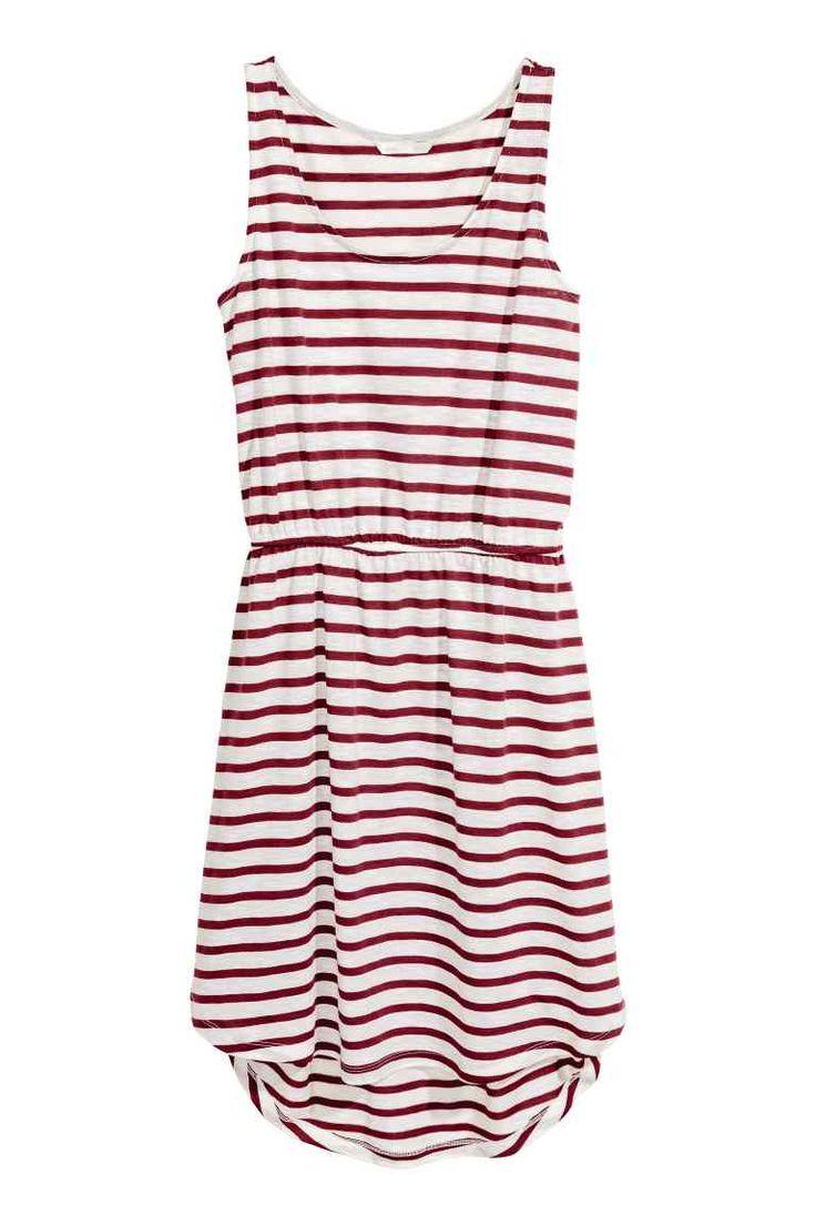 Vestido sem mangas em jersey - Bordeaux/Riscas - SENHORA | H&M PT 1
