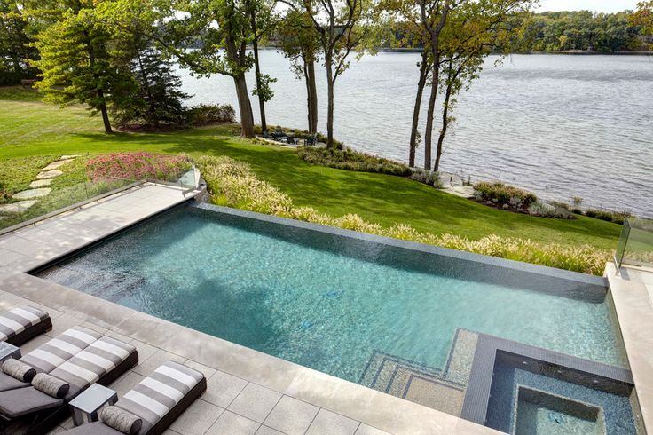Good Looking Infinity Edge convention Detroit Modern Pool Decoration ideas with backyard flowers grass infinity edge pool lakefront pool steps pool tile rectangular pool rectangular