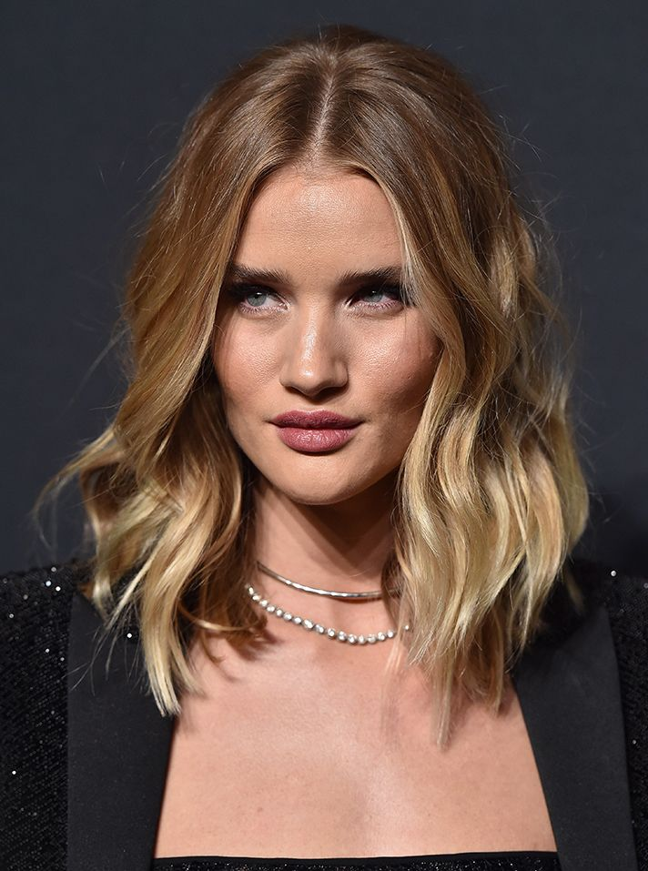Haircut Inspiration: Rosie Huntington-Whitely's wavy long bob with subtle balayage highlights is perfection