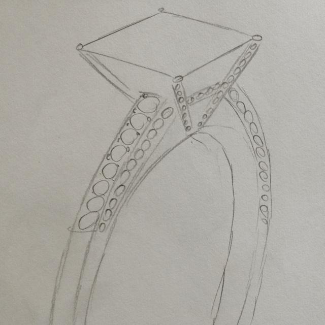 Princess cut diamond ring sketch with shoulder stones