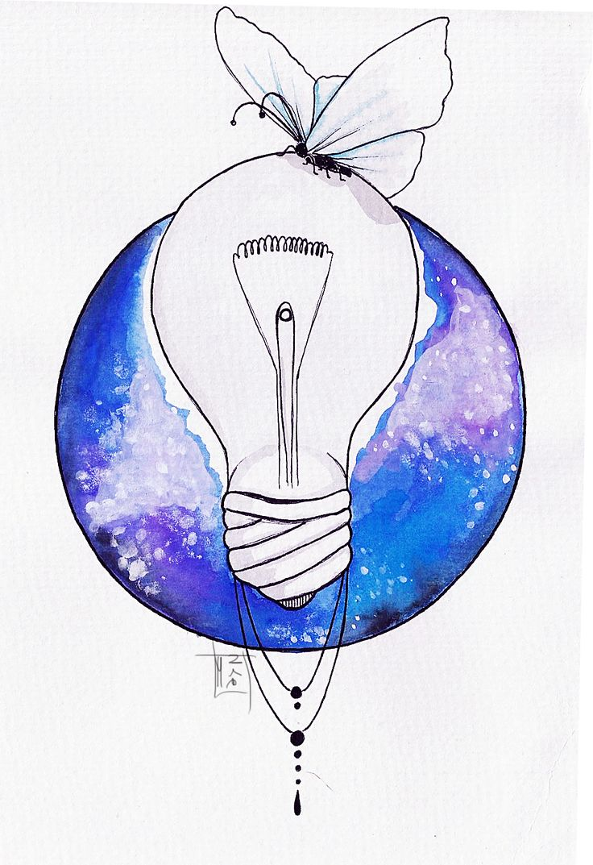 Watercolor lightbulb tattoo