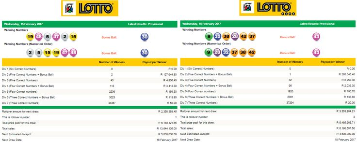 Latest #SouthAfricanLottoResults & #SouthAfricanLottoplusResults| 15 February 2017  https://www.playcasino.co.za/lotto-and-lottoplus-results-south-africa-15-february-2017.html