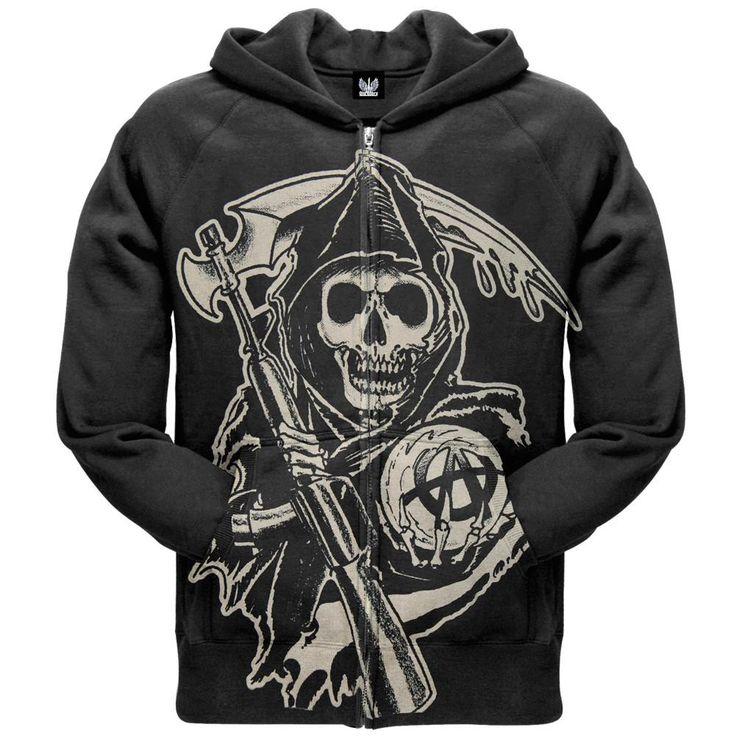 Sons of Anarchy - Large Muted Grim Reaper Zip Hoodie
