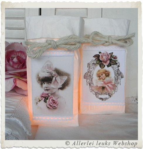 VOORBEELD kraft zakken voorjaar wit met waxinelichtjes - Allerlei leuks nostalgische hobbymaterialen en decoratie