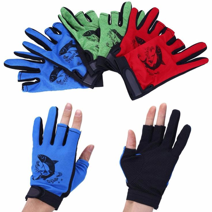 Outdoor Waterproof Fishing Gloves Hunting Cyling  3 Cut Finger Anti-Slip Mitten