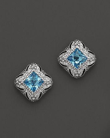 Judith Ripka Estate Stud Earrings in Blue Topaz