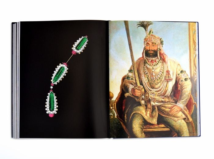 Left – Jabot or cliquet brooch, by JAR, Paris, 2013, of silver and gold, with three elongated polished emeralds, and diamonds, pearls and rubies; Right – Maharaja Sher Singh by August Theodor Schoefft, c. 1850. The ruler wears the Koh-i-Noor diamond in a bazuband on his right arm. Photo courtesy of Assouline