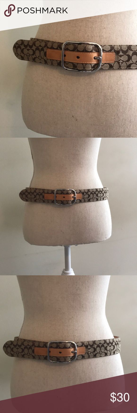 Brown and tan leather Coach belt Brown and tan leather Coach belt. 3 notches  Excellent condition. Genuine leather and solid brass buckle , handcrafted in Italy Coach Accessories Belts