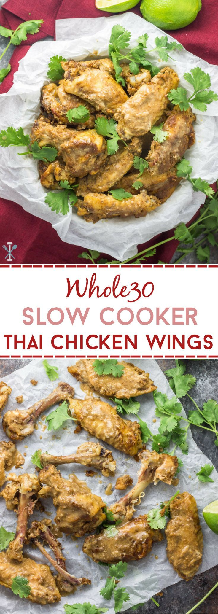 Whole30 slow cooker Thai chicken wings are the perfect 'set & forget' football snack. The perfect appetizer sure to be a crowd-pleaser!