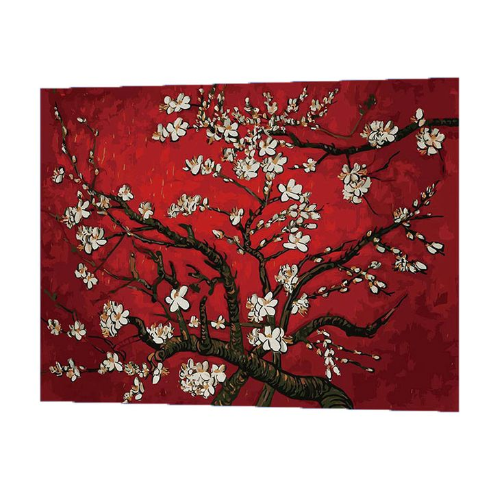WONZOM Apricot Blossom Oil Painting By Numbers DIY Abstract Digital Picture Coloring By Numbers On Canvas Unique Gift For Home #Affiliate