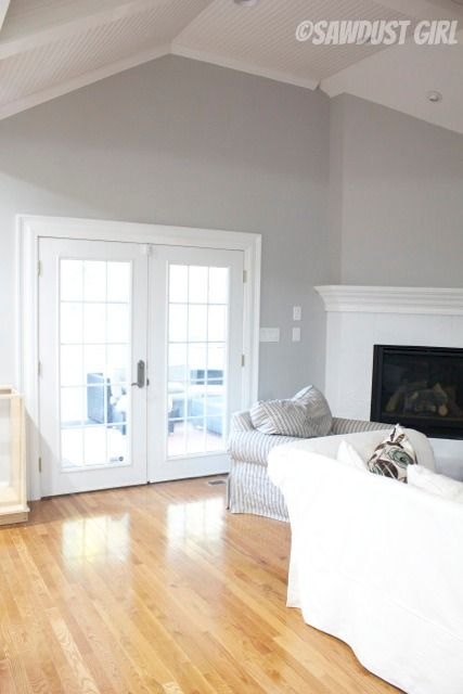 Sawdust Girl - Sherwin Williams Light French Grey walls & snowfall white trim with light oak flooring