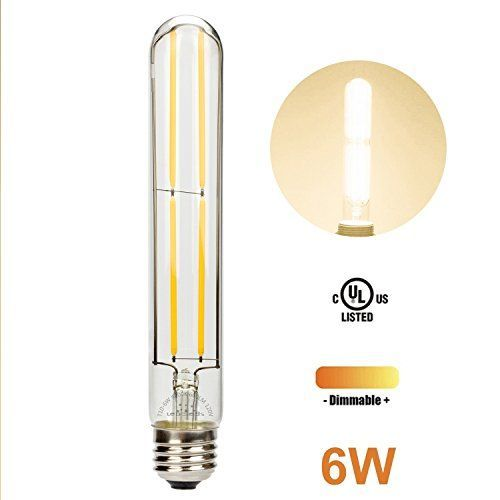 6 watts replaces the standard 60W incandescent light bulb, E26 medium screw base, Dimmable Light, 120V, 600 Lumens, soft white 3000K cosy light, solid glass high light transmission, mercury-free, no flicker, no UV; Dimension of the LED bulb: L 7.2 x D 1.2 inches * Beautiful Long Filament LED Bulb! The cool tubular led light bulb used the high-tech filament latest technology with full glass to cap construction, more beautiful than traditional incandescent light bulbs * (Placed within the Amaz