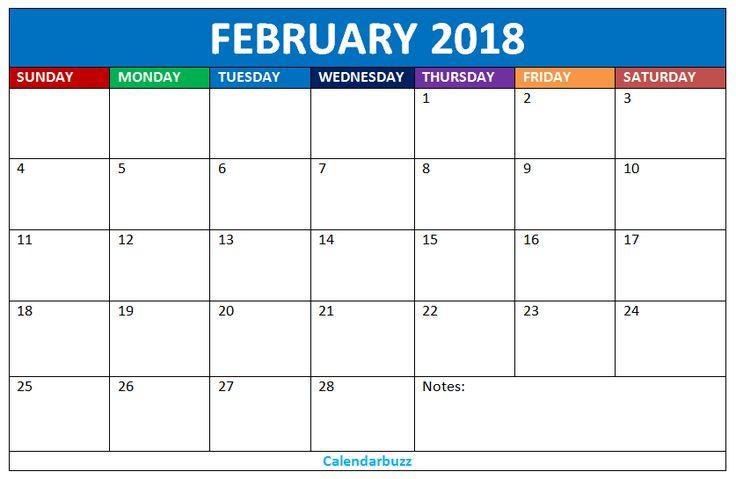 February 2018 Blank Calendar Template: Download free blank calendars templates for the month of Febr...