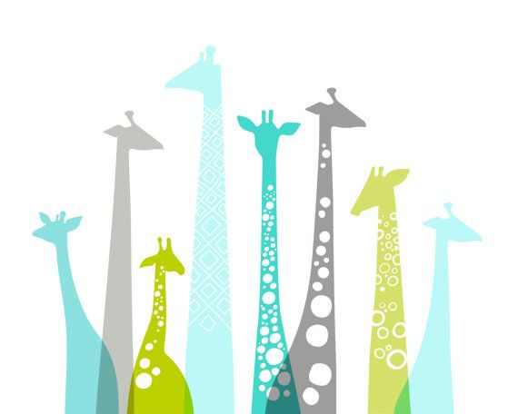 "20X16"" giraffe silhouettes landscape giclee print on fine art paper. teal blue, leaf green, gray."