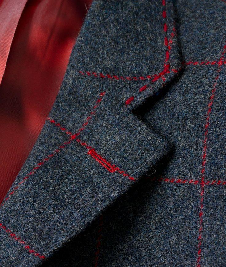 Men's Tweed Shetland Overcheck Gamekeeper Jacket | Navy