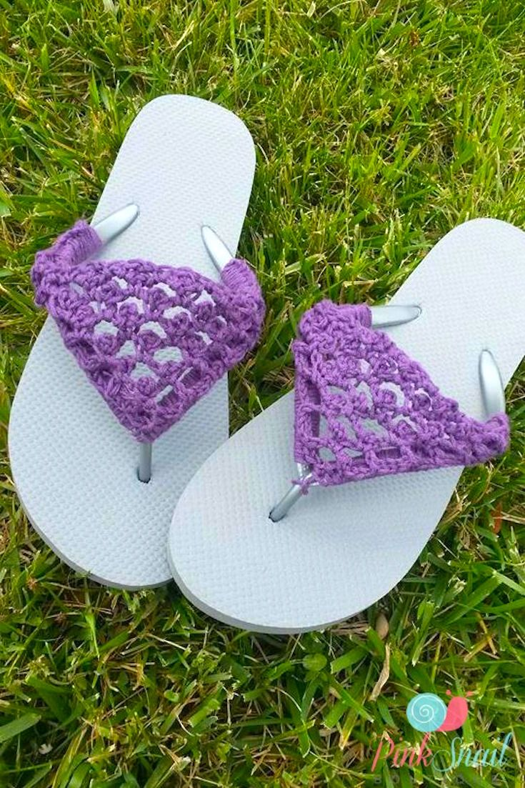 [Free Crochet Pattern] Spruce Up Your Old Flip Flops With This Adorable Crochet Fix