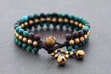Malachite pietra tessuto branello dei braccialetti per le donne di stile tailandese campana di bronzo braccialetto gioielli fatti a mano delicato stile di estate(China (Mainland))