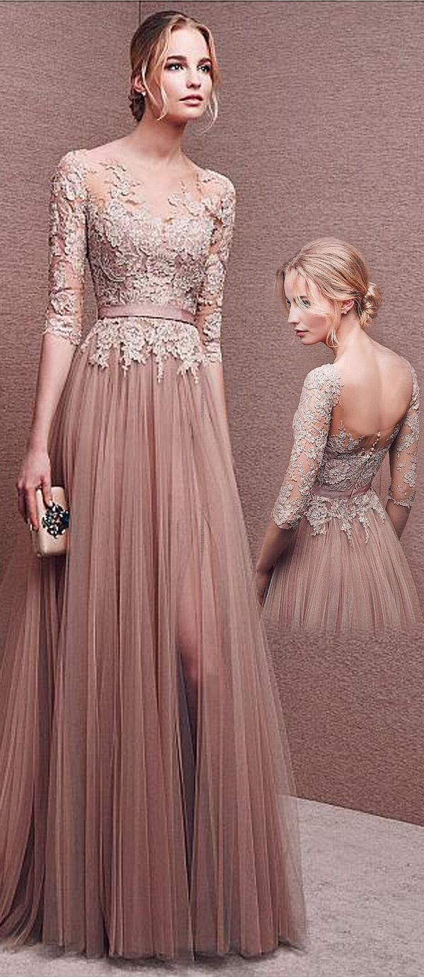 Marvelous Tulle Bateau Neckline Half Length Sleeves Slit A-line Evening Dresses With Lace Appliques & Sash