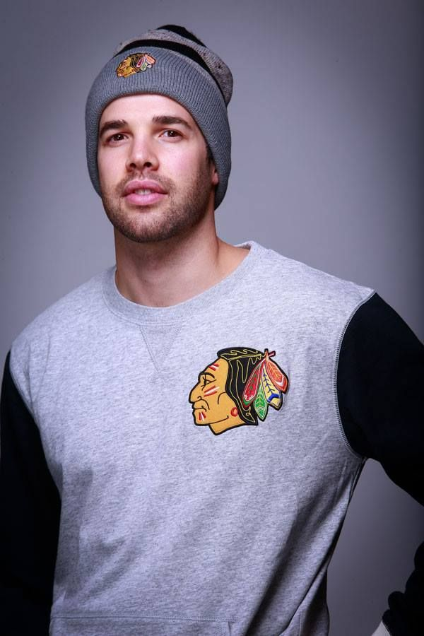 Corey Crawford is wearing the Mitchell & Ness Team To Beat Crew and the Mitchell & Ness Speckled Knit hat. Get 20% off these items today only (Dec. 15) at the #Blackhawks Store!