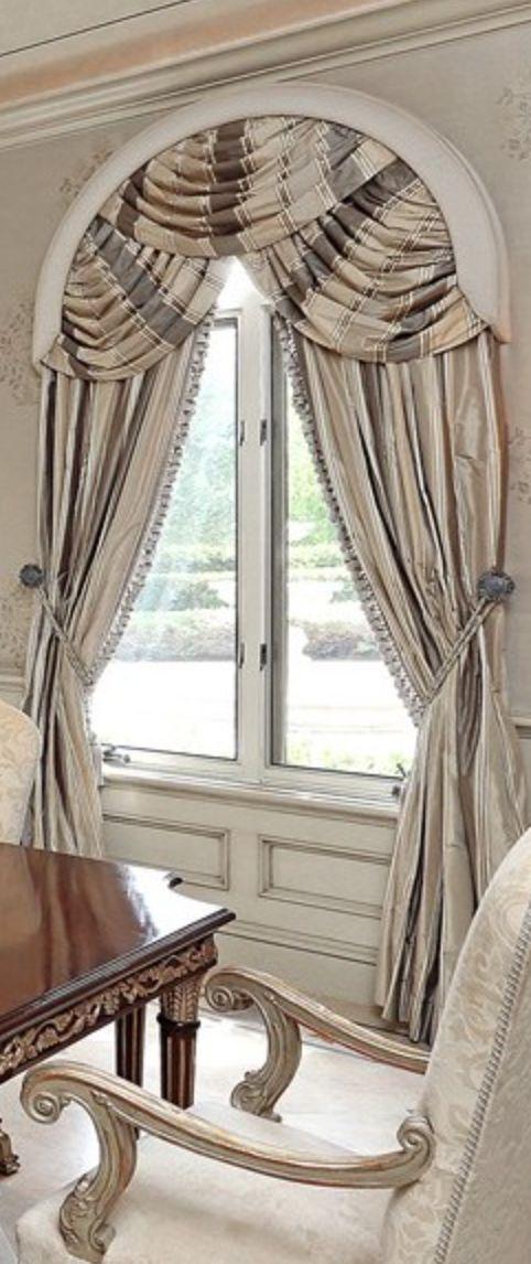 arch top taupe and grey silk stripe draperies. Custom Draperies DesignNashville