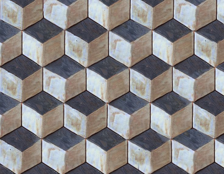 Handmade hexagon ceramic tiles in a 3D pattern coloured white, black and golden brown