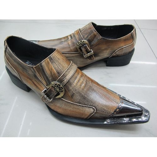 Handmade Russet Leather Pointy Retro Vintage Western Dress Shoes Men  SKU-1100223