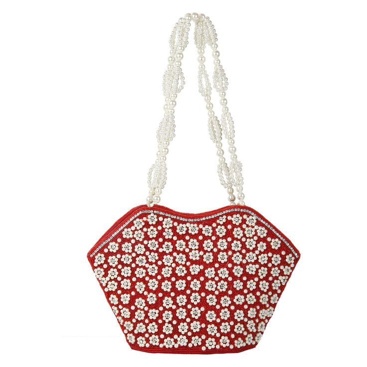 Lovely work of faux beads , pearls and rhinestones  gives a flashy look to this oval  purse and ideal for parties .The 15 inch long double  pearl string adds to the beauty of this purse.These are handcrafted  products so any imperfections should be taken as normal. Visit www.saashiwear.com for more collection.