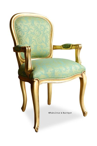 French Upholstered Armchair In Lime Damask Highlighted By