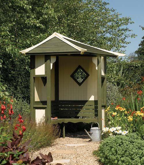 Painted Rowlinson Haven Corner Garden Arbour for sale.