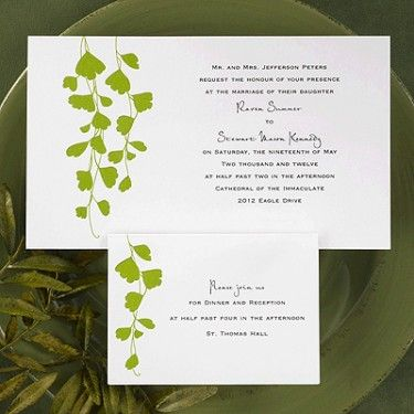 Maidenhair Fern Invitation.  One of my all time favorite ferns -- Adiantum