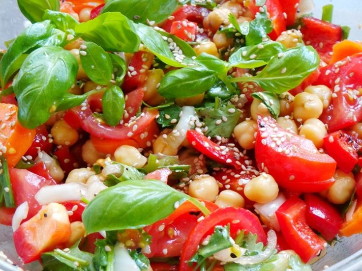 TOMATOES BASIL AND CHICKPEA SALAD I'd syn the oil and leave out sesame seeds personally