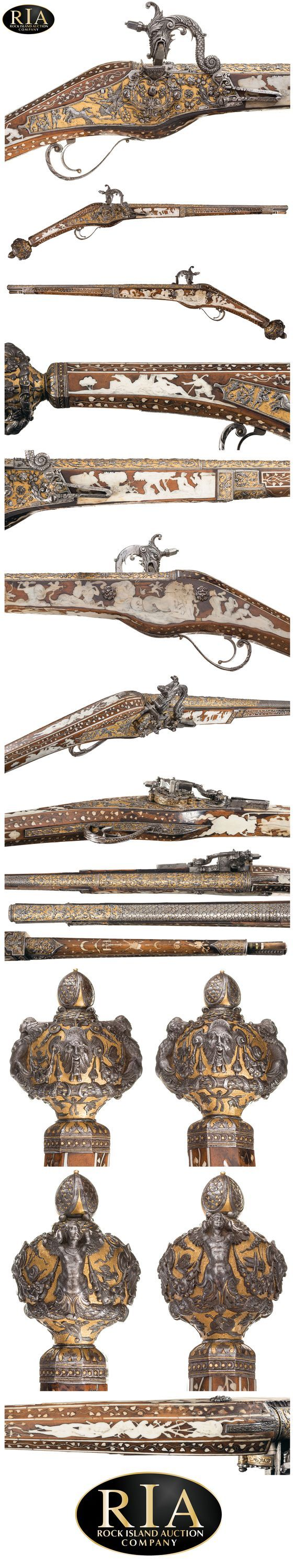 An Extremely Rare and Magnificent Wheellock Holster Pistol with Superbly Chiseled and Gilt Steel Mounts by Emanuel and/or Daniel Sadeler Royal Gunmakers to HRH Duke William of Bavaria Circa 1605 [564x2993]