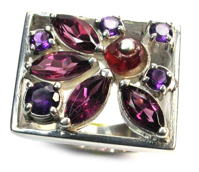 ASSORTED GEM STONE 7 1/2 RING SIZE 64.40 CTS [SJ1329] gemstone ring, muti cluster ring, silver ring gemstones