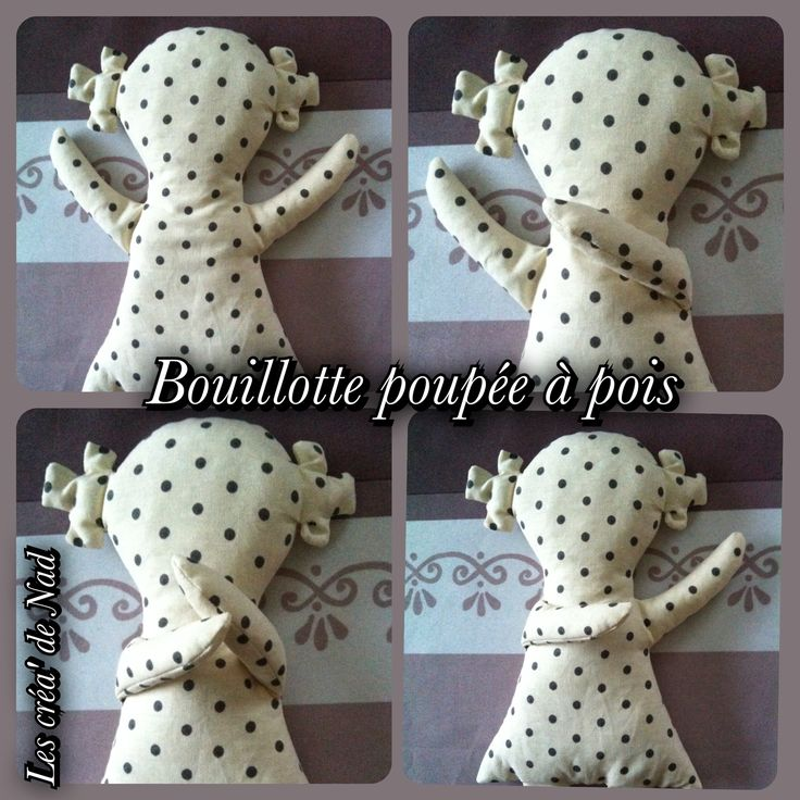 diy bouillotte s che poup e en tissu au riz et parfum e la lavande doll white grey mes. Black Bedroom Furniture Sets. Home Design Ideas