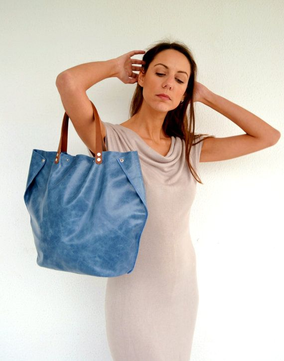 Blue raf leather tote bag / Handmade leather bag / by AnaKoutsi