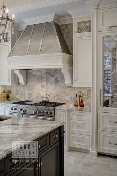 Nice Traditional Chicago Illinois kitchen remodel Featuring dark stained cocoa island cabinets and super white