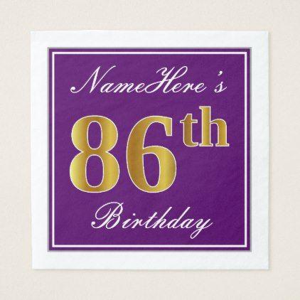 Elegant Purple Faux Gold 86th Birthday  Name Napkin - birthday gifts party celebration custom gift ideas diy