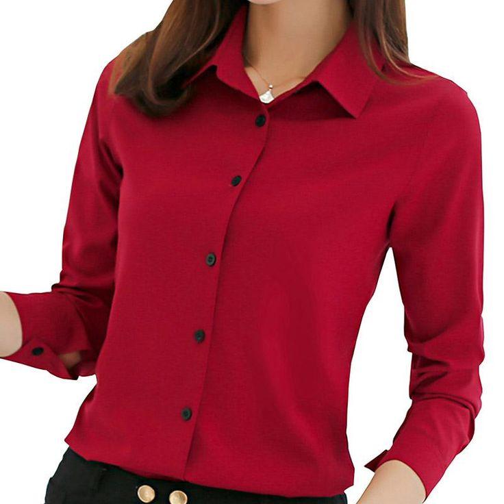 women blouse office shirt summer autumn long sleeve white pink red navy blue work wear korean formal tops female clothing  #summer #tagsforlikes #amazing #womenfashion #latestfashion #instalike #like4like #style #instagood #latesttrend