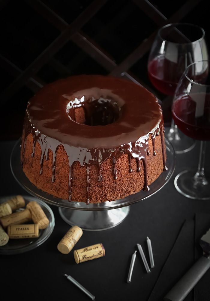 "Chocolate Red Wine Chiffon Cake: ""This cake has a beautiful texture and the red wine notes really add depth to the overall flavor. The wine is subtle in the cake, but more obvious in the chocolate-red wine ganache glaze that gets poured on top.  You can use any nearly any red wine in this cake recipe. I used a pinot noir, but next time I would love to try a buttery, berry-tasting merlot."""
