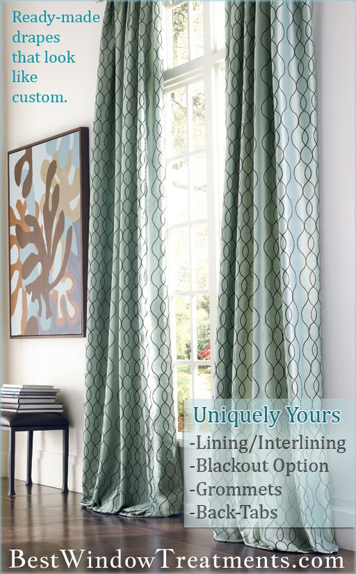 """Ready-made curtains, that look like custom drapes (options for lining/interlining or blackout + grommets or back-tabs) in standard size (84""""