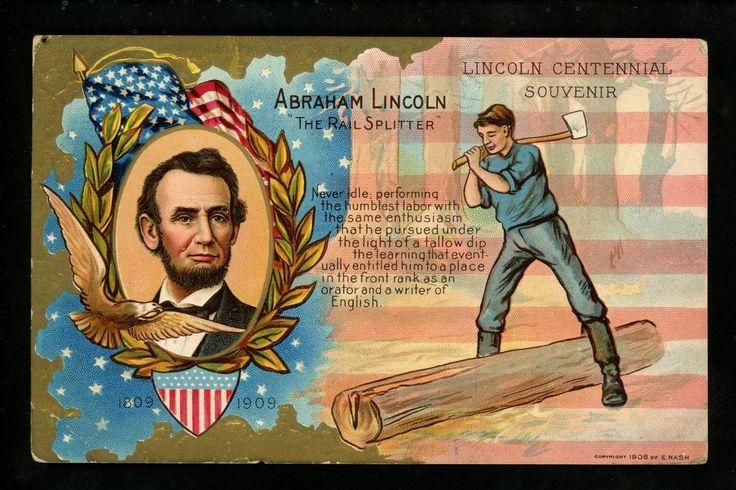 Patriotic Americana Vintage postcard Abraham Lincoln Birthday Nash 1908
