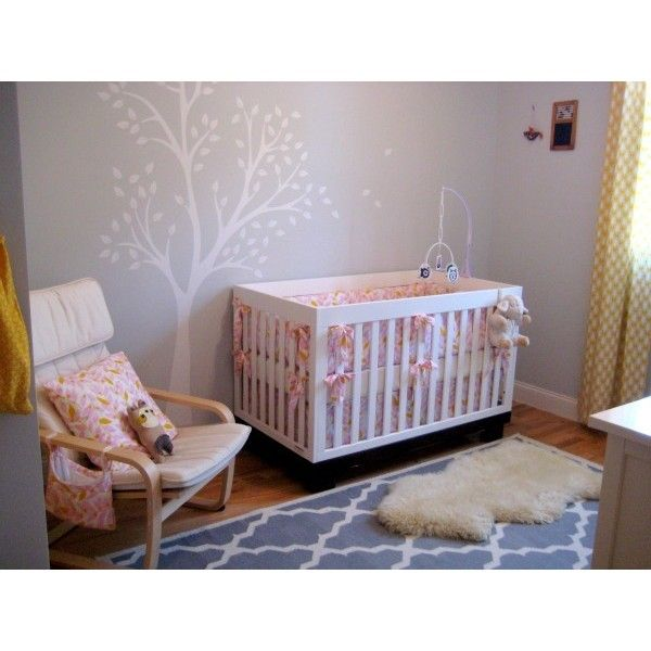 Grey, Pink, & Yellow Nursery « Spearmint Baby ❤ liked on Polyvore featuring nursery and house