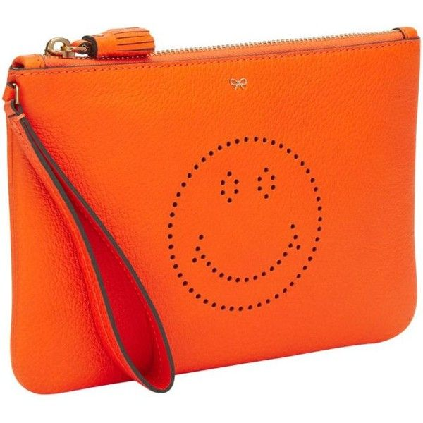 Smiley Pouch ($304) ❤ liked on Polyvore featuring bags, handbags, clutches, neon orange, womenbags, zip purse, zipper handbag, anya hindmarch purse, orange clutches and neon orange purse